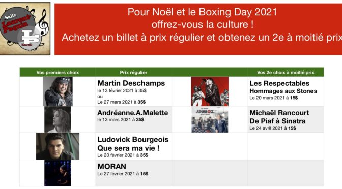 SPÉCIAL BOXING DAY 2021